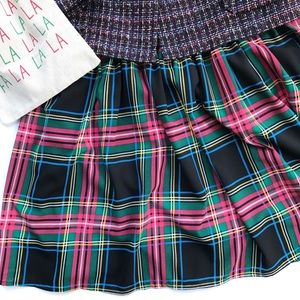 J. CREW Tartan Plaid Skirt Black Green light Red 6